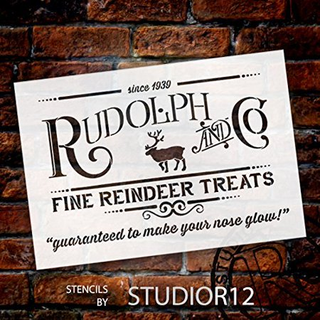 Christmas Signs.Rudolph And Co Stencil By Studior12 Reindeer Treats Christmas Word Art Reusable Mylar Template Painting Chalk Use For Crafting Diy Christmas