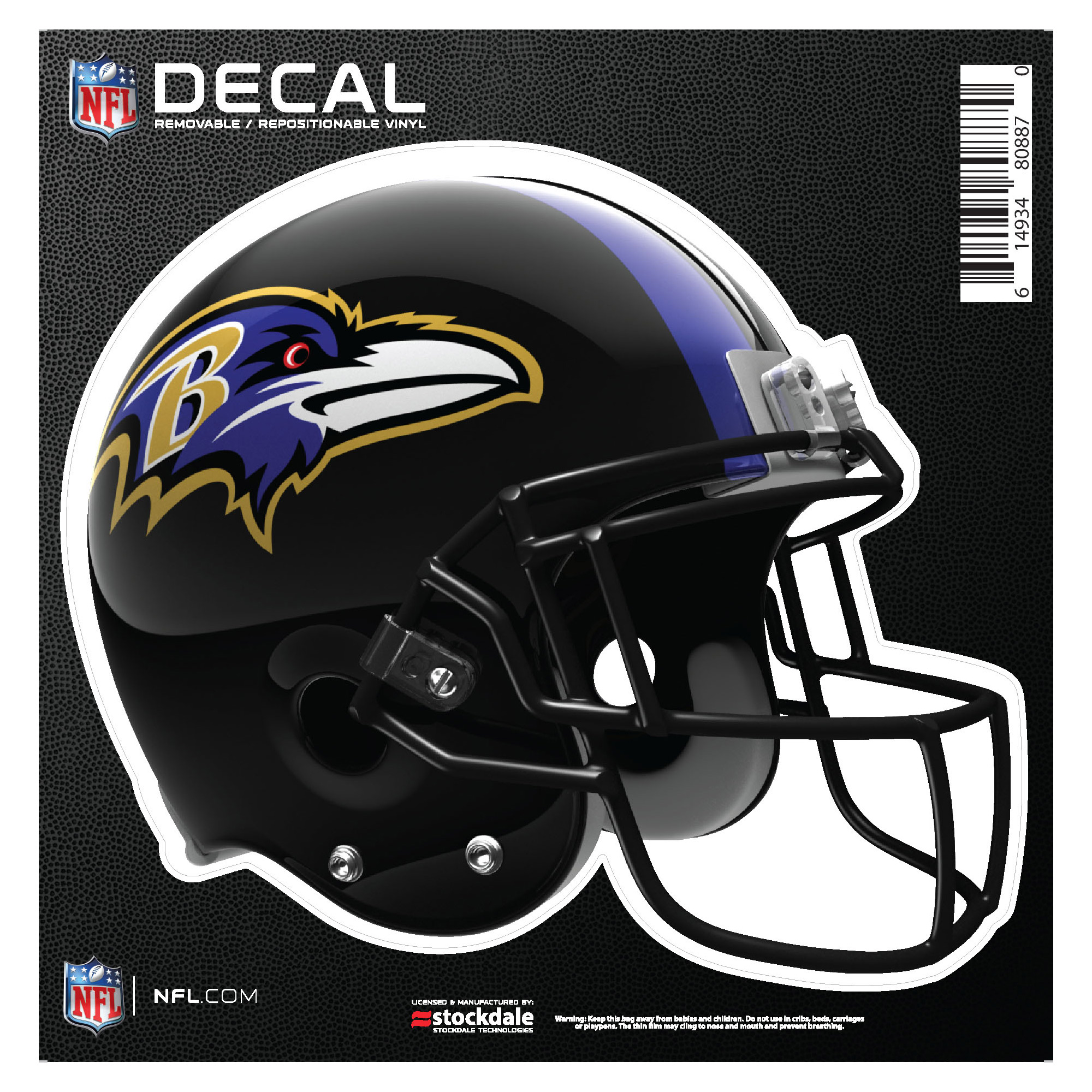 """Baltimore Ravens 6"""" x 6"""" Full Color Helmet Repositionable Decal - No Size"""