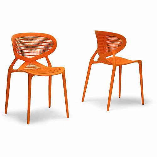 Wholesale Interiors Neo Plastic Modern Dining Chair, Set of 2, Orange