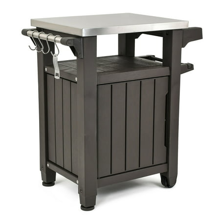 Keter Unity Resin Serving Station All Weather Plastic And Metal Grill Storage Prep Table 40 Gal Brown