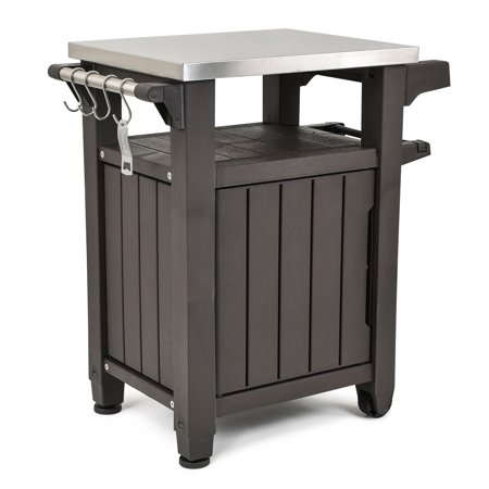 - Keter Unity Resin Serving Station, All-Weather Plastic and Metal Grill, Storage and Prep Table, 40 Gal, Brown
