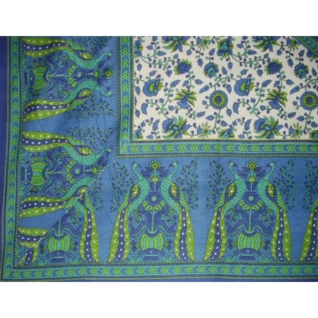 Peacock Tablecloth (Floral Peacock Cotton Tablecloth 88