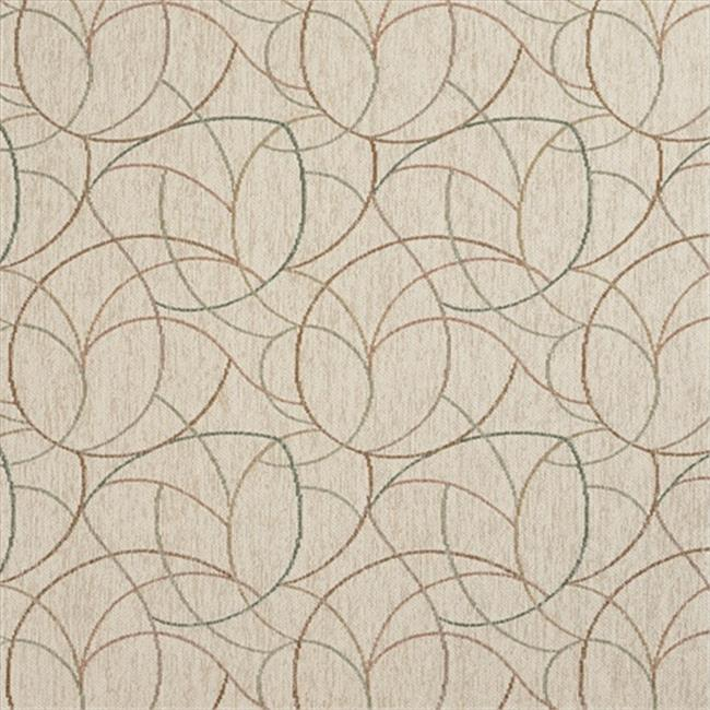 Designer Fabrics F871 54 in. Wide Orange, Green And Ivory, Geometric Chenille Upholstery Fabric