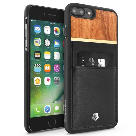 Cobble Pro Black Genuine Leather Rear Slim Card Wallet Shell Case (Rose Wood Designed) for Apple iPhone 7 Plus