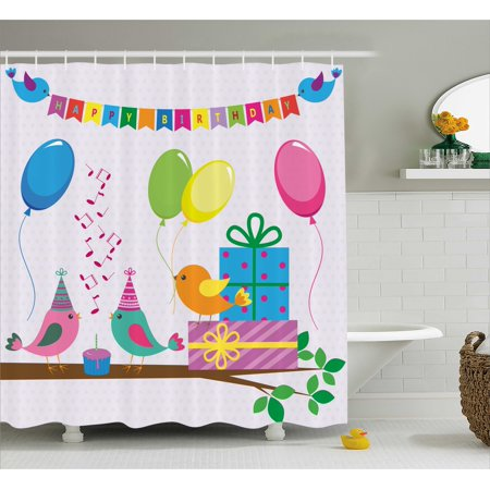 Birthday Decorations for Kids Shower Curtain, Singing Birds Happy Birthday Song Flags Cone Hats Party Cake, Fabric Bathroom Set with Hooks, 69W X 84L Inches Extra Long, Multicolor, by Ambesonne - Singing Happy Birthday