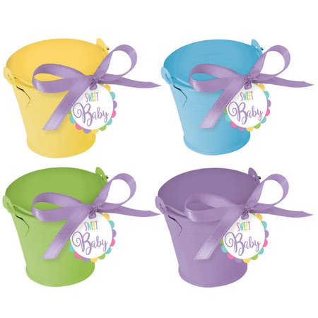 Metal Pastel Pail Baby Shower Favor Kit (18 Count) - Party Supplies (Halloween Pails Wholesale)