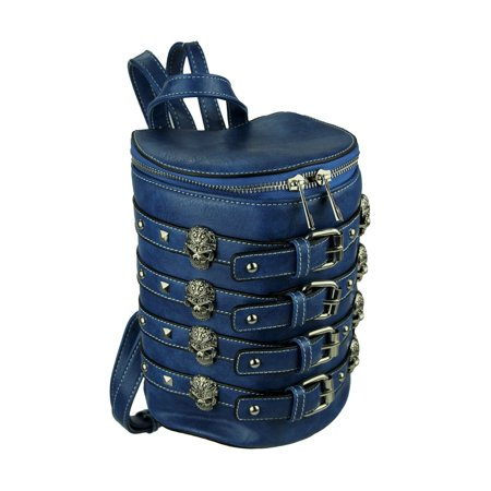 Biker Skulls and Buckles Studded Barrel Backpack - Cowgirl Backpacks