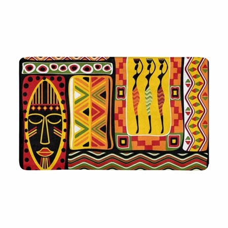Orange Bath Rugs (MKHERT African Artwork Woman with Jar Historical Elements Orange Doormat Rug Home Decor Floor Mat Bath Mat 30x18 inch )