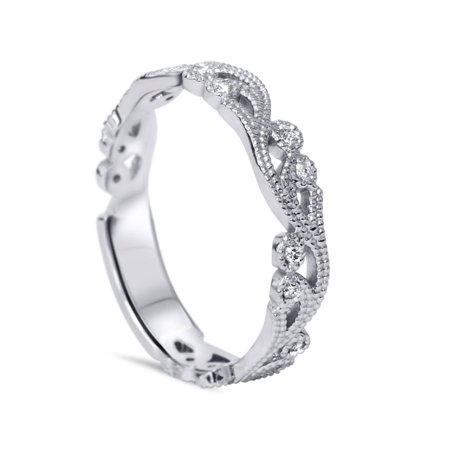 Women's 1/6ct Vintage Scroll Stackable Diamond Ring 14K White Gold - image 2 of 4