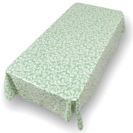 Carnation Damask Scroll Premum Quality Vinyl Flannel Back Oblong Tablecloth 52