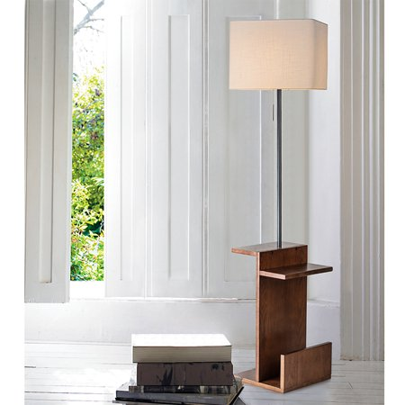 UBesGoo Bedside Table with LED Floor Lamp Attached End Table for Living Room Sofas (E2d Led)