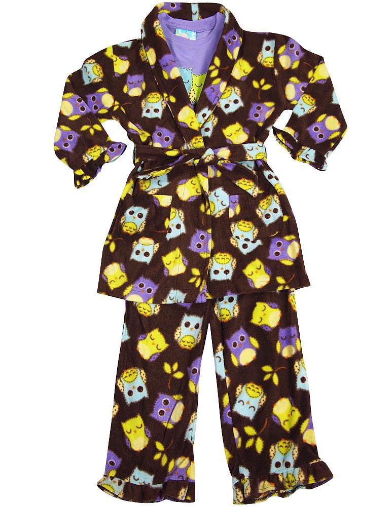 Bunz Kidz - Baby Girls 3 Piece Robe and Pajama Set brown purple / 12 Months
