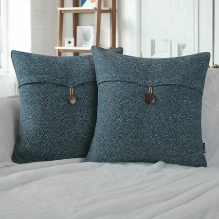 "Phantoscope Single Button Cotton Blend Series Decorative Throw Pillow, 18"" x 18"", Lake Blue, 2 Pack ()"