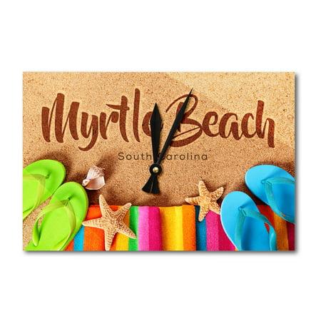 South Carolina Flip Flops - Myrtle Beach, South Carolina - Flip Flops on Beach - Lantern Press Photography (Acrylic Wall Clock)
