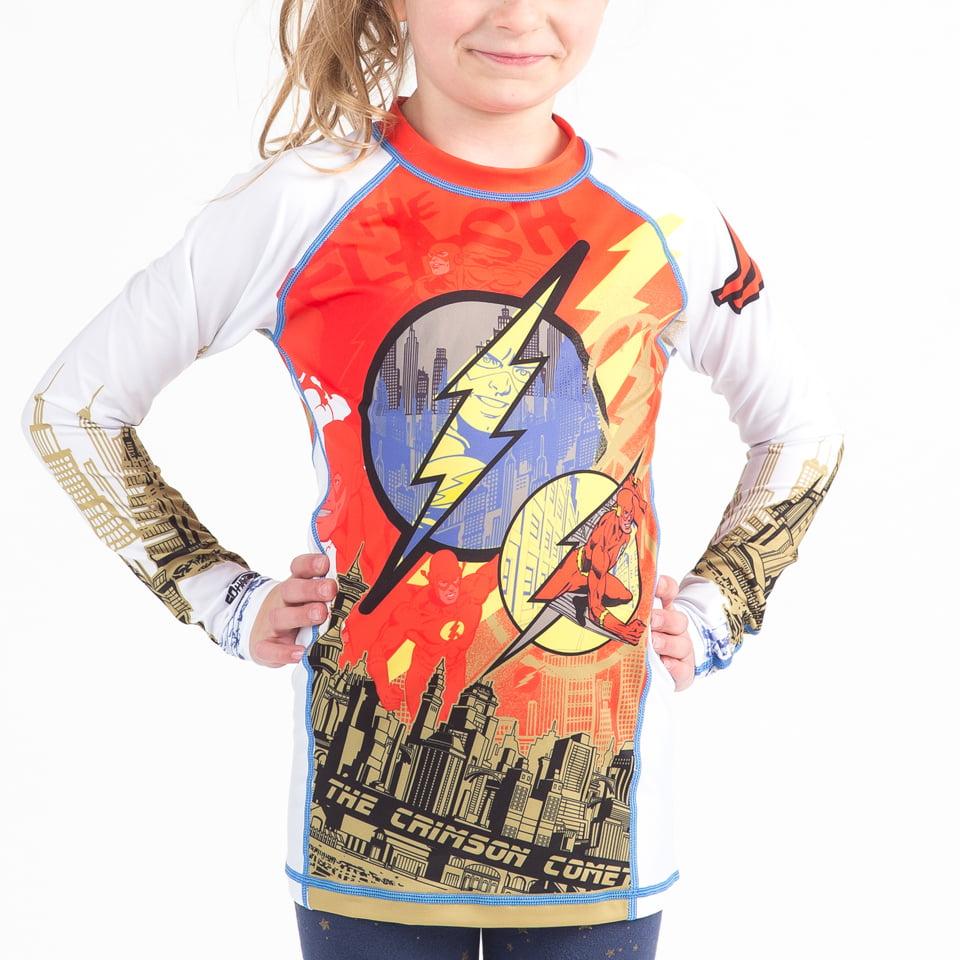 Fusion Fight Gear The Flash Crimson Comet Kids Rash Guard Compression Shirt Long Sleeve L