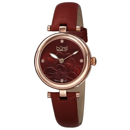 - Burgi  Women's Quartz Diamond Markers Etched Flower Dial Leather Red Strap Watch