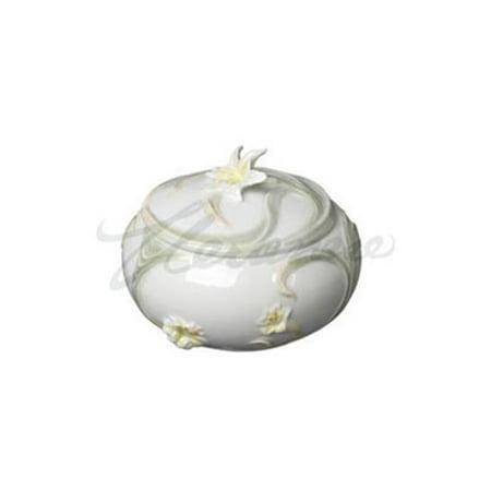 Unicorn Studios AP20163AA Porcelain Round Yellow Tiger Lily Trinket Box, Glazed - image 1 of 1