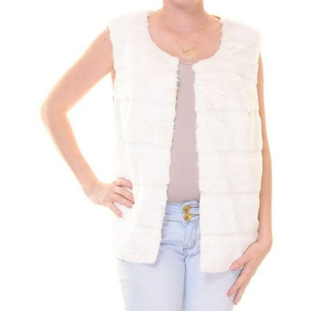 Style & Co Ivory Fur Vest Size S