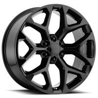 "Replica 176GB GM Snowflake 22x9 6x5.5"" +24mm Gloss Black Wheel Rim 22"" Inch"
