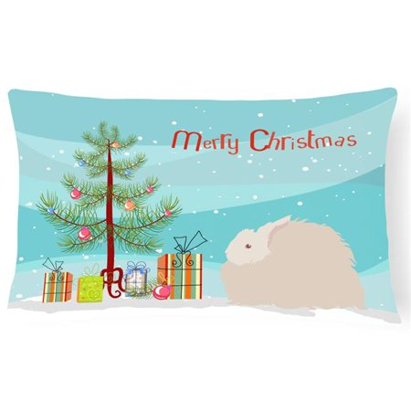Carolines Treasures BB9326PW1216 Fluffy Angora Rabbit Christmas Canvas Fabric Decorative Pillow - image 1 de 1