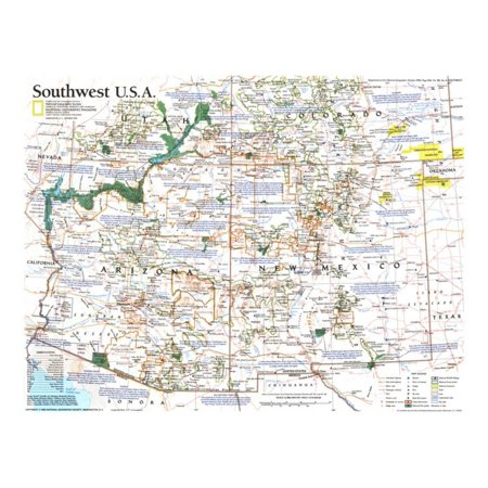 1992 Southwest Usa Map Print Wall Art By National Geographic Maps