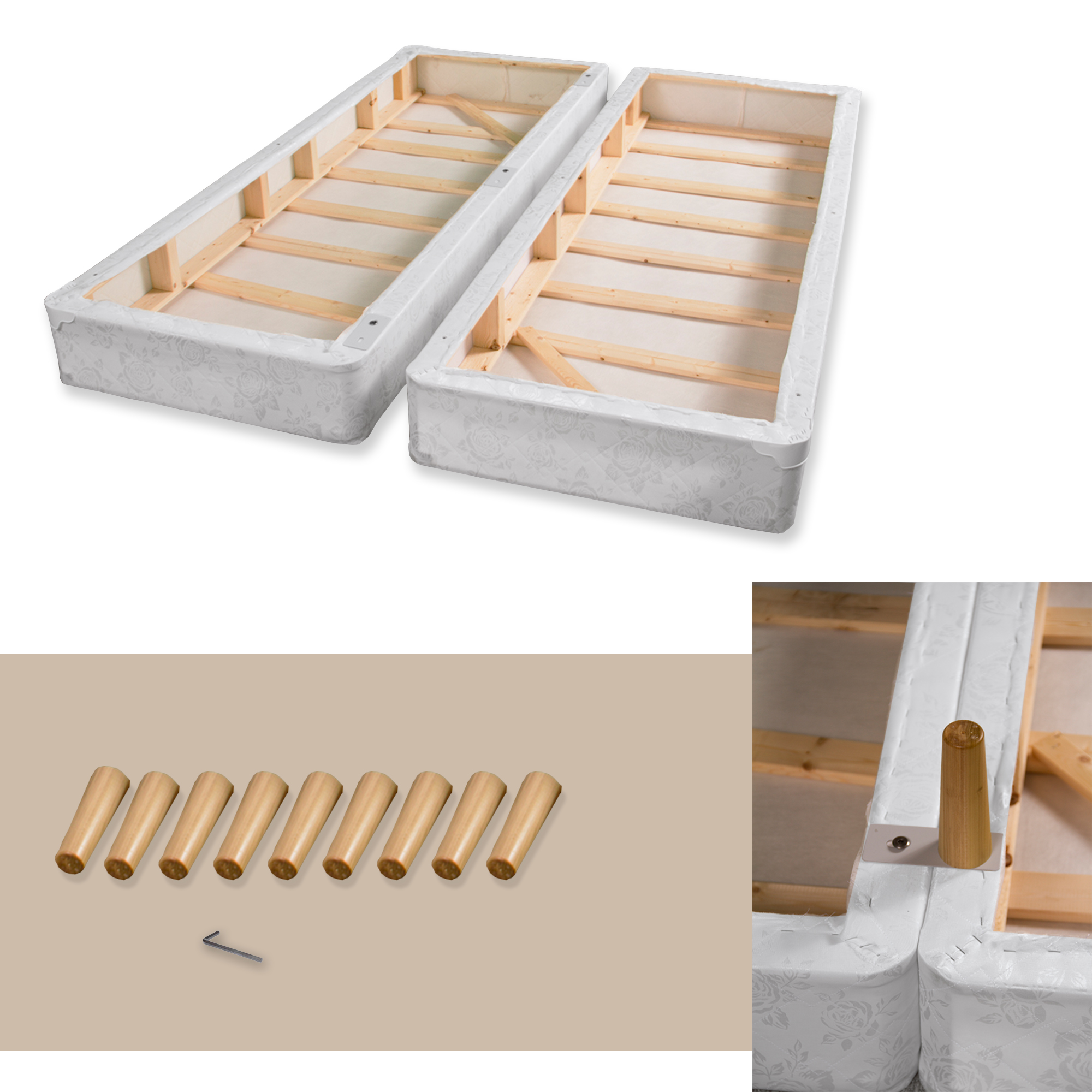 Full XL Greaton Firm 4-Inch Split Low Profile Wood Fully Assembled Traditional Box Spring//Foundation for Mattress Beige