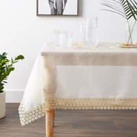 Violet Linen Dainty Emroidered Organza, Macrame Lace Border, Polyester, Ivory, 70 Inch by 120 Inch, Seats 10 to 12 Pepole, Rectangle, Tablecloths
