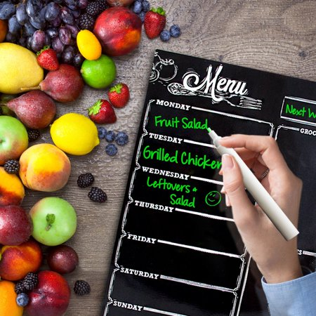 GLiving Magnetic Dry Erase Refrigerator Calendar - Large Reusable Monthly Chalkboard - Meal Cooking Conversion Chart & To Do Grocery List - Kitchen Gift Set - Best Supplies For Smart Planners