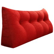 Sofa Daybed Large Filled Triangular Wedge Cushion Bed Backrest Positioning Support Pillow Reading Pillow Office Lumbar Pad with Removable Cover Red 47 Inches