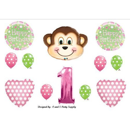 Girl S 1st First Mod Monkey Pink Happy Birthday Party Balloons