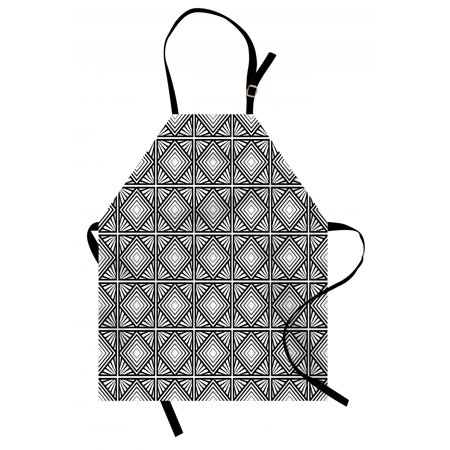 Contemporary Apron Monochrome and Geometric Mosaic Composition with Squares Diamond Shapes, Unisex Kitchen Bib Apron with Adjustable Neck for Cooking Baking Gardening, Black and White, by (Black Diamond Adjustable Probe Pole)
