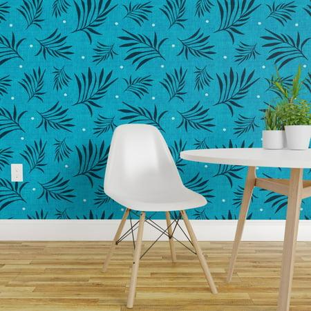 Wallpaper Roll Tropical Blue Bohemian Aqua Hawaiian Summer Palm 24in x