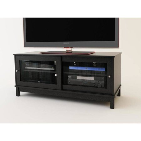 Mainstays 55 Tv Stand With Sliding Glass Doors Black