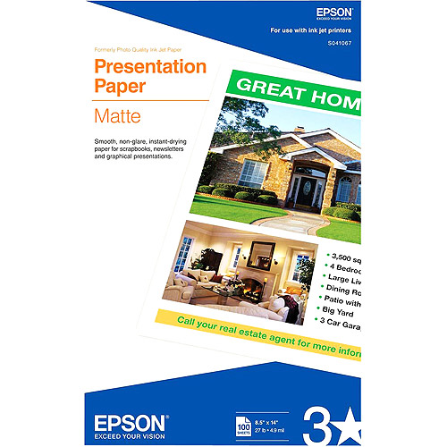 Epson Matte Presentation Paper, 27 lbs., Matte, 8-1/2 x 14, 100 Sheets/Pack