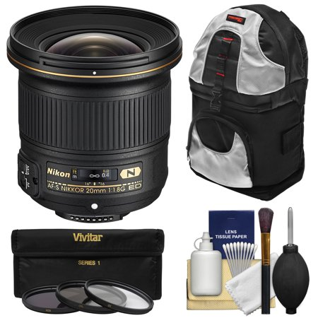 Nikon 20mm f/1.8G AF-S ED Nikkor Lens with 3 UV/CPL/ND8 Filters + Backpack + Kit for D3200, D3300, D5300, D5500, D7100, D7200, D750, D810