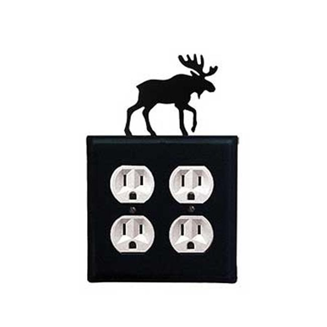 Village Wrought Iron EOO-19 Moose Double Outlet Cover- Black