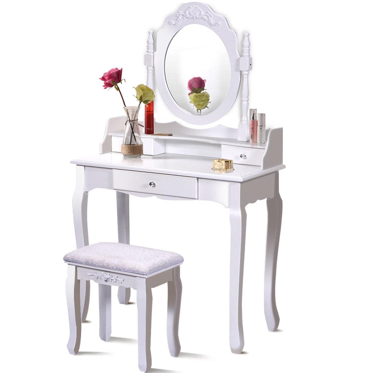 Costway White Vanity Wood Makeup Dressing Table Stool Set bathroom With Mirror + 3 Drawer by Costway