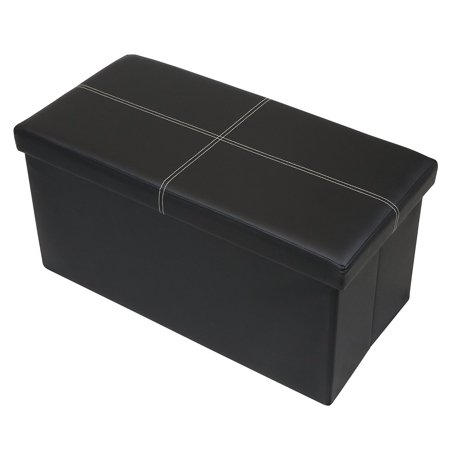 Otto & Ben 30 Inch Line Design Memory Foam Folding Storage Ottoman Bench with Faux Leather ()