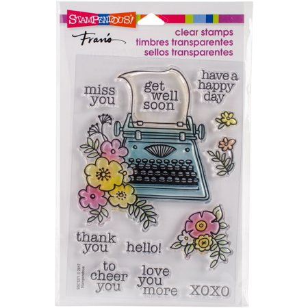 Stampendous Perfectly Clear Stamps Floral Typewriter