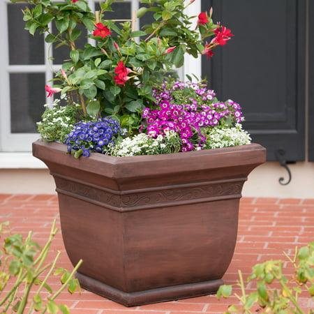 Azalea Outdoor Cast Stone Planter, Dark Brown