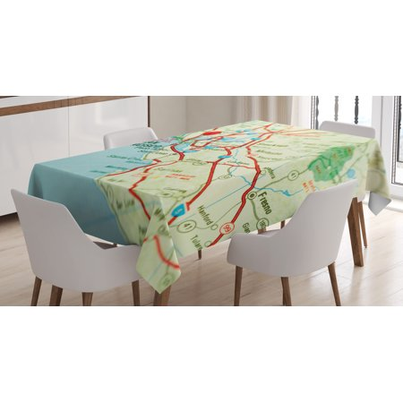 Map Tablecloth, Vintage Map of San Francisco Bay Area with Red Pin City Travel Location, Rectangular Table Cover for Dining Room Kitchen, 52 X 70 Inches, Pale Blue Pale Green Red, by Ambesonne ()