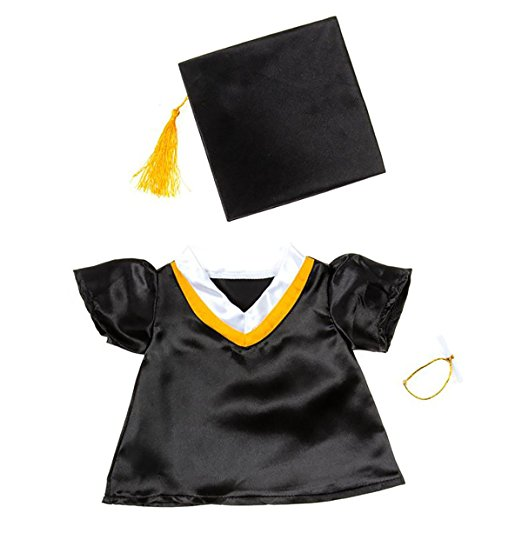 "Graduation Cap & Gown Outfit Teddy Bear Clothes Fits Most 14"" 18"" Build-a-bear,... by Bear Factory"