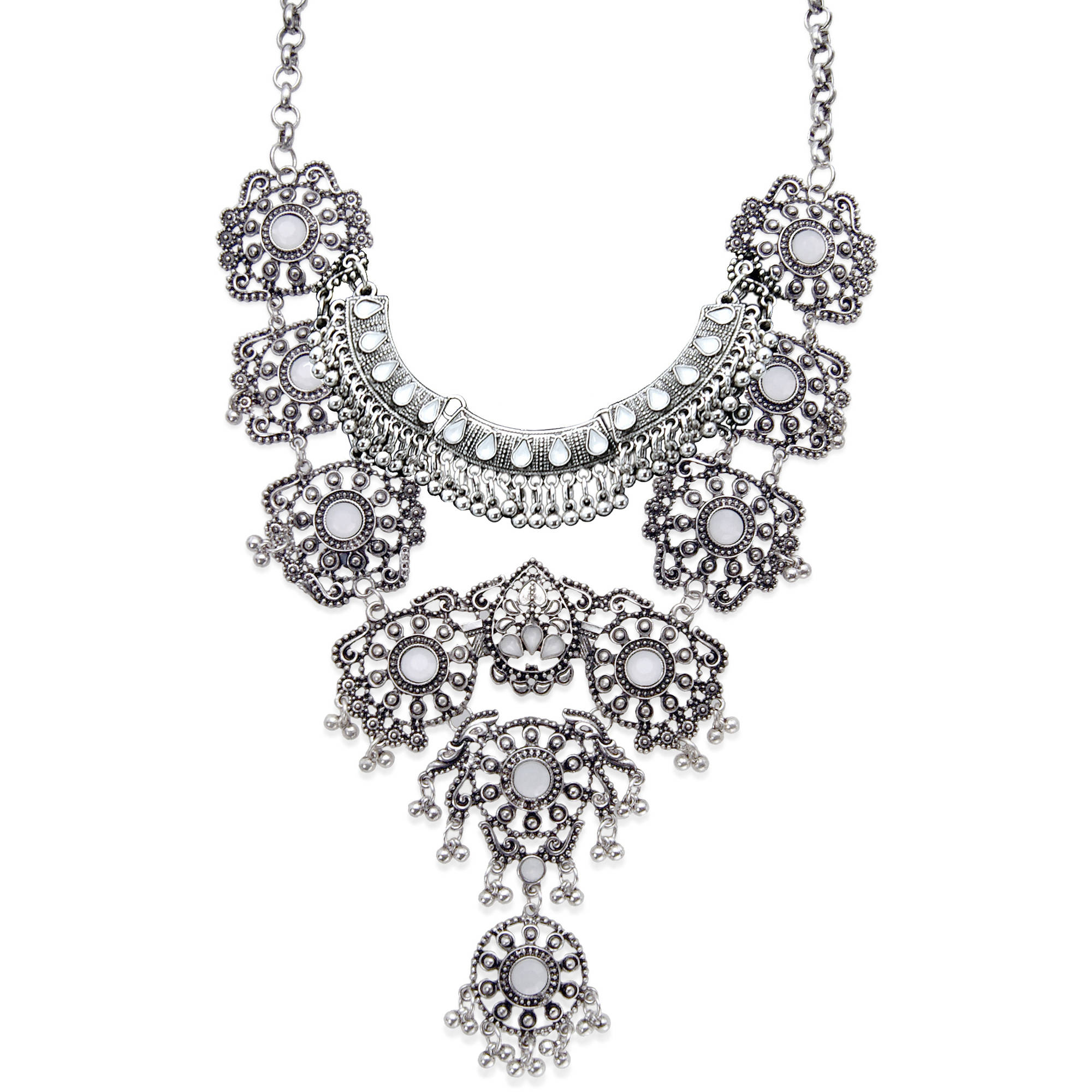 Baroque Statement Necklace with Silver Oxide Detailing, Adjustable