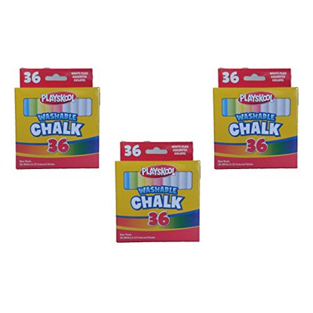 Assorted Colored Chalk (Set of 3 Playskool Brand Washable 36 Piece White and Assorted Colored Chalk)