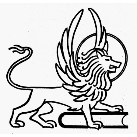 Saint Mark Na Winged Lion And Book The Symbol Of Saint Mark Line