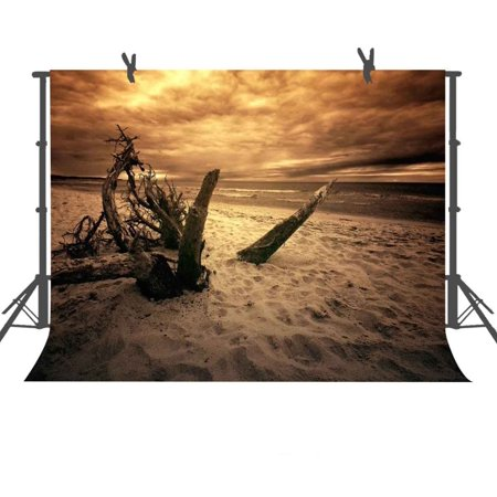 GreenDecor Polyster 7x5ft Seaside Beach Backdrop Studio Photography Props Photo Background