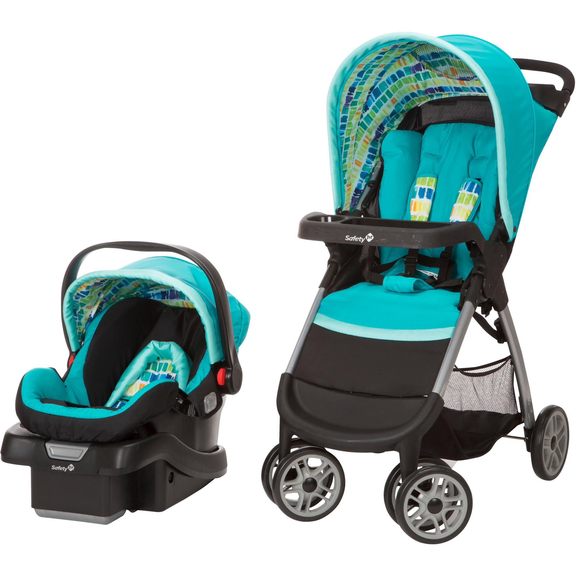 Safety 1st Amble Quad Plus Travel System, Rainbow Ice