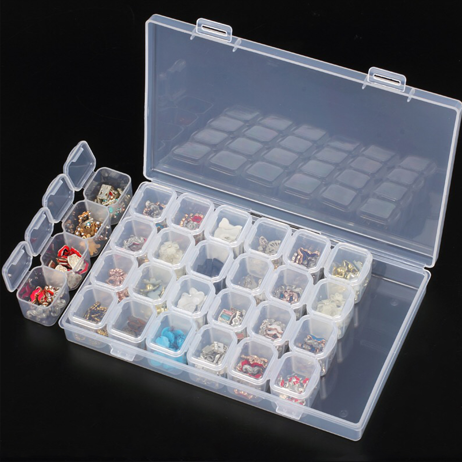 Compartment Organizer Box with Dividers Rock Collection Box for Kids Earring Storage Organizer Box with Lid Jewelry Travel Display Craft Bead Case 1 PC 36 Grids 2 PCS 15 GRIDS