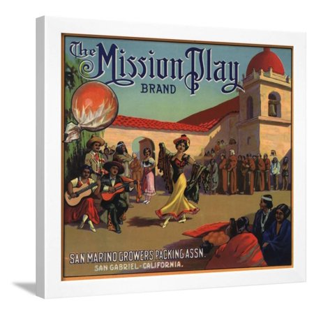 Mission Play Brand - San Gabriel, California - Citrus Crate Label Framed Print Wall Art By Lantern