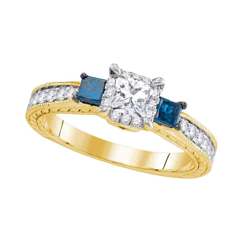 14k Yellow Gold Womens 3-stone Blue Colored Diamond Wedding Bridal Engagement Ring (1.00 cttw.) by Mia Diamonds